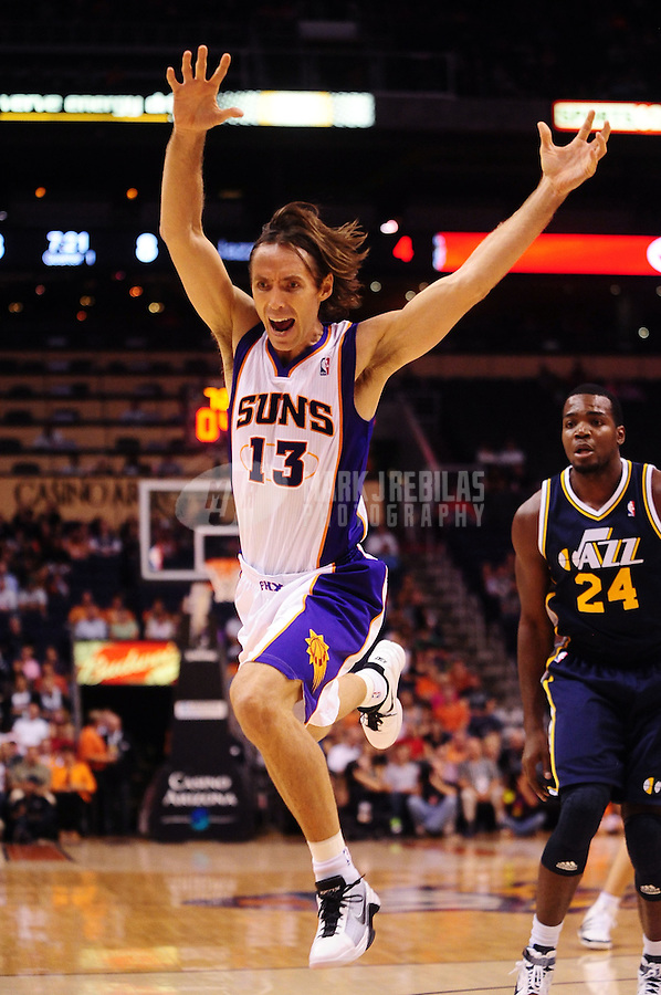 Oct. 12, 2010; Phoenix, AZ, USA; Phoenix Suns guard (13) Steve Nash reacts after being stripped of the ball against the Utah Jazz during a preseason game at the US Airways Center. Mandatory Credit: Mark J. Rebilas-