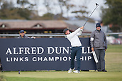 5th October 2017, The Old Course, St Andrews, Scotland; Alfred Dunhill Links Championship, first round; Alfie Plant of England tees off on the seventeenth hole during the first round at the Alfred Dunhill Links Championship on the Old Course, St Andrews