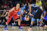 Washington, DC - June 1, 2019: Washington Mystics guard Kristi Toliver (20) plays defense against Atlanta Dream guard Renee Montgomery (21) during game between Atlanta Dream and Washington Mystics at the St. Elizabeths East Entertainment and Sports Arena (Photo by Phil Peters/Media Images International)