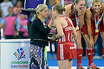 ENG - London, England, August 30: Sophie, Countess of Wessex hands over the trophy to Kate RICHARDSON-WALSH #11 of England during the prize giving ceremony on August 30, 2015 at Lee Valley Hockey and Tennis Centre, Queen Elizabeth Olympic Park in London, England.  (Photo by Dirk Markgraf / www.265-images.com) *** Local caption ***