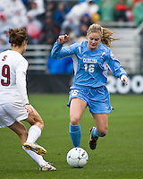 North Carolina defender Rachel Givan (16) dribbles the ball. North Carolina defeated Stanford 1-0 to win the 2009 NCAA Women's College Cup at the Aggie Soccer Stadium in College Station, TX on December 6, 2009.