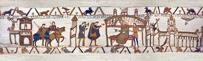 11the Century Medieval Bayeux Tapestry -Scene 24 - Harold sails back to England from Normandy. Scene 25 - Harold reports to Edward the Confessor on his visit to Normandy.
