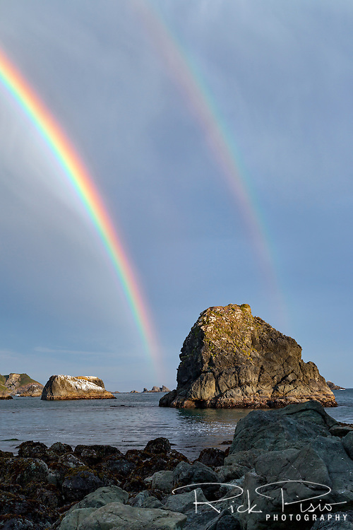 A double rainbow strikes the Oregon Coast near Brookings, Oregon.