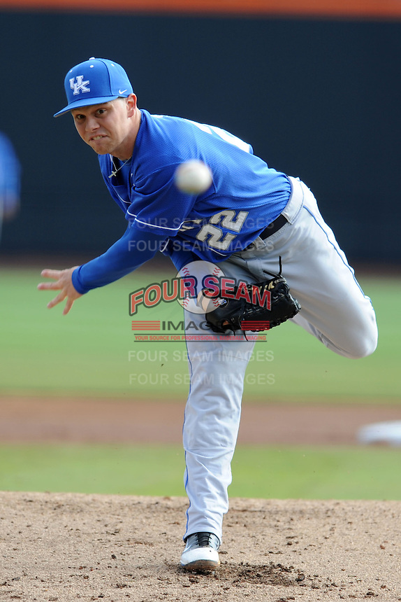 Starting Pitcher Jerad Grundy #22 delivers a pitch during a  game against the Tennessee Volunteers at Lindsey Nelson Stadium on March 24, 2012 in Knoxville, Tennessee. The game was suspended in the bottom of the 5th with the Wildcats leading 5-0. Tony Farlow/Four Seam Images.