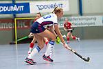 Mannheim, Germany, November 29: During the Bundesliga indoor women hockey match between Mannheimer HC and TSV Mannheim on November 29, 2019 at Irma-Roechling-Halle in Mannheim, Germany. Final score 4-4. Jule Kosswig #23 of Mannheimer HC<br /> <br /> Foto © PIX-Sportfotos *** Foto ist honorarpflichtig! *** Auf Anfrage in hoeherer Qualitaet/Aufloesung. Belegexemplar erbeten. Veroeffentlichung ausschliesslich fuer journalistisch-publizistische Zwecke. For editorial use only.