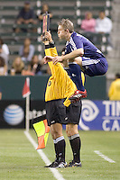 New York Red Bulls FWD John Wolyniec (15) warms up on the sideline waiting to enter the game. The LA Galaxy defeated the New York Red Bulls 3-1 in OT during a US Open Cup qualifier at the Home Depot Center in Carson, California, May 8, 2007.
