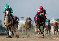 HALLANDALE BEACH, FL - JANUARY 27:Tommy Macho #8 with Luis Saez up defeats Conquest Big E #3 and Juan Bautista aboard breaks his maiden at Gulfstream Park Race Track on January 27, 2018 in Hallandale Beach, Florida. (Photo by Alex Evers/Eclipse Sportswire/Getty Images)