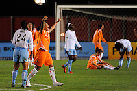 Natasha Kai (6) of Sky Blue FC celebrates at the final whistle. Sky Blue FC defeated the Chicago Red Stars 1-0 during a Women's Professional Soccer match at Yurcak Field in Piscataway, NJ, on June 17, 2009.