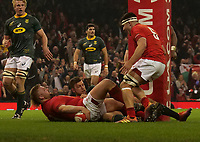 Wales' Tomas Francis scores his side's first try<br /> <br /> Photographer Ian Cook/CameraSport<br /> <br /> Under Armour Series Autumn Internationals - Wales v South Africa - Saturday 24th November 2018 - Principality Stadium - Cardiff<br /> <br /> World Copyright &copy; 2018 CameraSport. All rights reserved. 43 Linden Ave. Countesthorpe. Leicester. England. LE8 5PG - Tel: +44 (0) 116 277 4147 - admin@camerasport.com - www.camerasport.com
