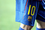 10 is the magic number. A detailed view of the shorts of Lionel Messi of FC Barcelona during the UEFA Champions League round of 16 second leg match between FC Barcelona and Bayern 04 Leverkusen at Camp Nou on March 7, 2012 in Barcelona, Spain. FC Barcelona won 7-1 and Lionel Messi scored 5 goals.