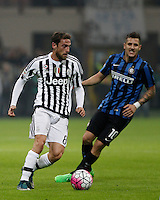 Calcio, Serie A: Inter vs Juventus. Milano, stadio San Siro, 18 ottobre 2015. <br /> Juventus&rsquo; Claudio Marchisio, left, is chased by FC Inter's Stevan Jovetic during the Italian Serie A football match between FC Inter and Juventus, at Milan's San Siro stadium, 18 October 2015.<br /> UPDATE IMAGES PRESS/Isabella Bonotto
