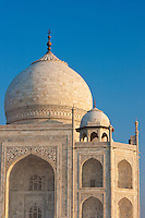 Iwans of The Taj Mahal mausoleum, western view detail diamond facets with bas relief marble, Uttar Pradesh, India