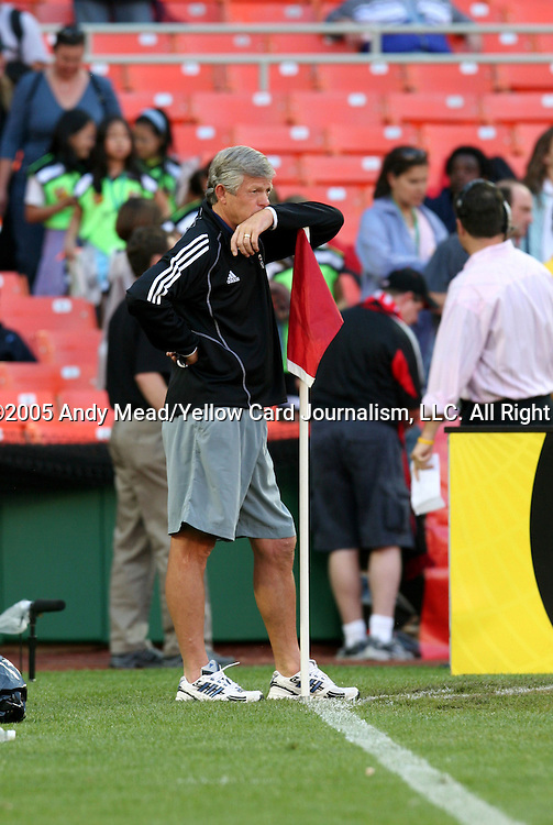 21 May 2005: Wizards head coach Bob Gansler watches his team warm up. DC United defeated the Kansas City Wizards 3-2 at RFK Stadium in Washington, DC in a regular season Major League Soccer game. . .