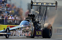 Sept. 23, 2012; Ennis, TX, USA: NHRA top fuel dragster driver Khalid Albalooshi during the Fall Nationals at the Texas Motorplex. Mandatory Credit: Mark J. Rebilas-