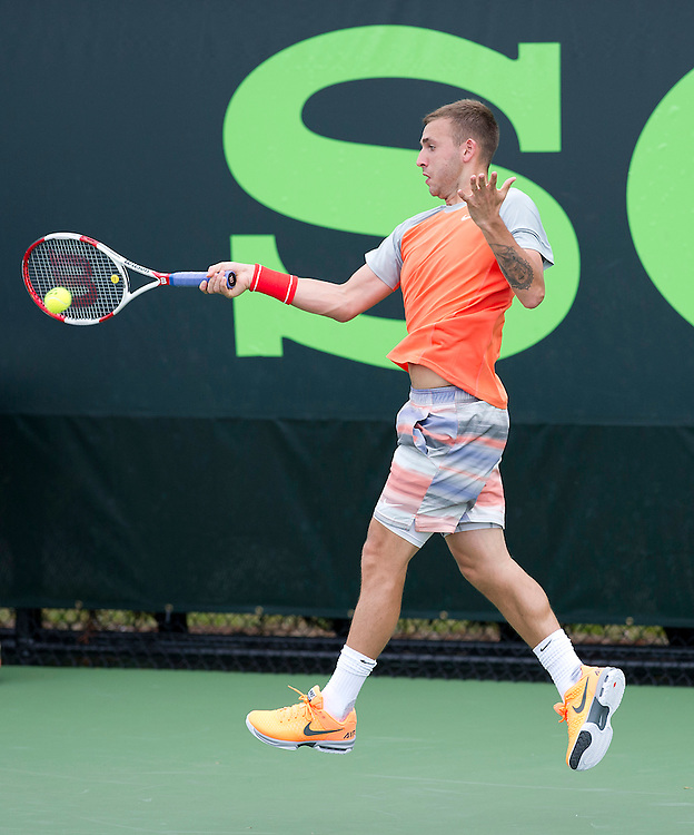 Daniel Evans (GBR) in action during his defeat by Jimmy Wang (TPE) in their Mens Singles First Round match today - Jimmy Wang (TPE) def Daniel Evans (GBR) 6-4 6-2<br /> <br /> Photographer Andrew Patron<br /> <br /> Tennis - Sony Open Tennis - ATP World Tour Masters 1000 - Day 2 - Tuesday 18th March 2014 - Tennis Center at Crandon Park Key Biscayne, Miami, Florida USA<br /> <br /> &copy; CameraSport - 43 Linden Ave. Countesthorpe. Leicester. England. LE8 5PG - Tel: +44 (0) 116 277 4147 - admin@camerasport.com - www.camerasport.com