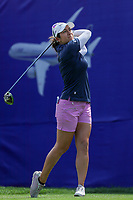 Marina Alex watches her drive off of the 1st tee during Round 3 at the ANA Inspiration, Mission Hills Country Club, Rancho Mirage, Calafornia, USA. {03/31/2018}.<br />