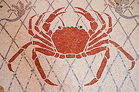 Detail of mosaic floor showing a crab at the Musée Océanographique, Monaco, 5 July 2013