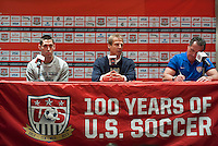 Mexico City, Mexico - Monday, March 25, 2013: USA press conference with Jurgen Klnsman and Clint Dempsey.