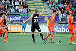 The Hague, Netherlands, June 10: Stephen Jenness #27 of New Zealand celebrates after Simon Child #6 of New Zealand scores the tying goal during the field hockey group match (Men - Group B) between New Zealand and The Netherlands on June 10, 2014 during the World Cup 2014 at Kyocera Stadium in The Hague, Netherlands. Final score 1-1 (0-1) (Photo by Dirk Markgraf / www.265-images.com) *** Local caption ***