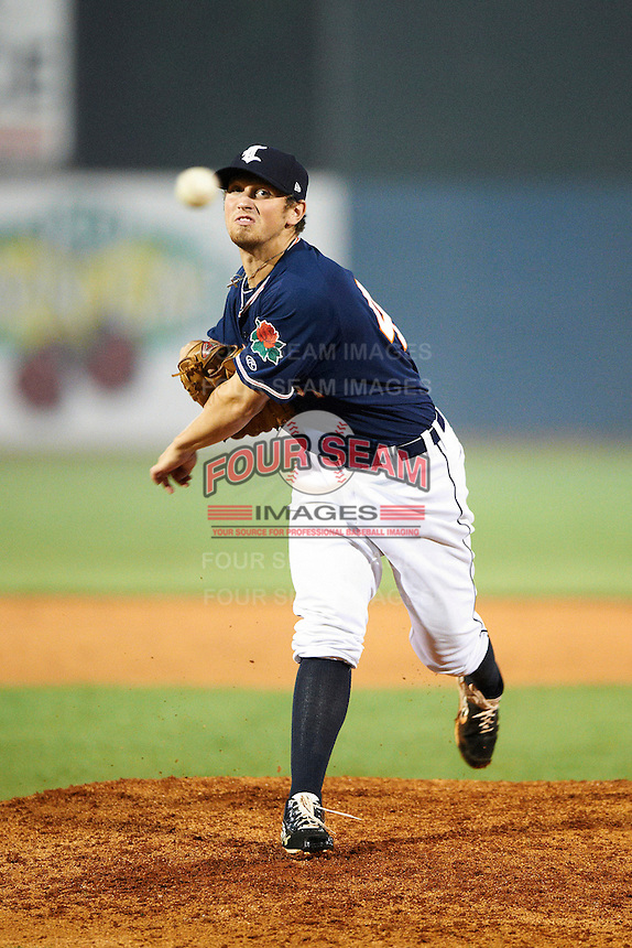 Connecticut Tigers pitcher Josh Turley #44 during the NY-Penn League All-Star Game at Eastwood Field on August 14, 2012 in Niles, Ohio.  National League defeated the American League 8-1.  (Mike Janes/Four Seam Images)