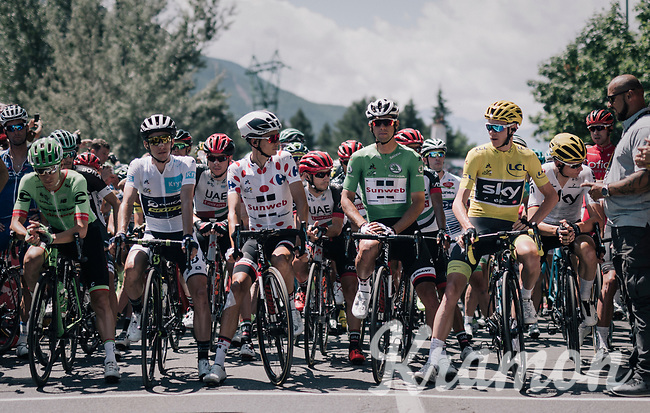 jersey line-up at the race start.<br /> will the Paris podium have the same guys up?<br /> <br /> 104th Tour de France 2017<br /> Stage 18 - Briancon &rsaquo; Izoard (178km)
