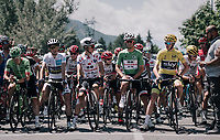 jersey line-up at the race start.<br /> will the Paris podium have the same guys up?<br /> <br /> 104th Tour de France 2017<br /> Stage 18 - Briancon › Izoard (178km)