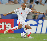 Medhi Nafti (8) of Tunisia. Spain defeated Tunisia 3-1 in their FIFA World Cup Group H match at the Gottlieb-Daimler-Stadion, Stuttgart, Germany, June 19, 2006.