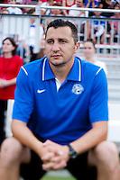 FC Kansas City head coach Vlatko Andonovski watches his team before the game at the Maryland SoccerPlex in Boyds, MD. The Washington Spirit tied FC Kansas City, 1-1.