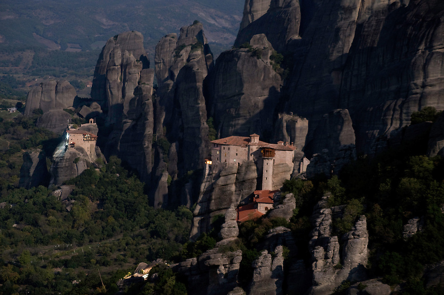 Greece, Meteora, Roussanou Monastery in moonlight, Agios Nikolaos (St, Nicholas) Anapafsas Monastery in background