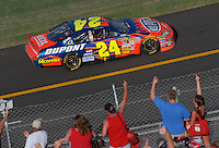 Apr 29, 2007; Talladega, AL, USA; Fans react as Nascar Nextel Cup Series driver Jeff Gordon (24) takes the checkered flag under caution to win the Aarons 499 at Talladega Superspeedway. Mandatory Credit: Mark J. Rebilas
