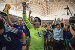 June 15, 2014, Tokyo, Japan - Japanese football fans cheer on in excitement as they watch the FIFA World Cup Brazil 2014 Group C match between Japan and Cote d'Ivoire at a public viewing held at Tokyo Dome on Sunday, June 15, 2014. Cote d'Ivoire beat Japan in a 2-1 victory in the preliminary round match during the 2014 FIFA World Cup in Recife, Brazil. (Photo by AFLO)