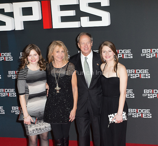US ambassador to Germany John B Emerson his wife Kimberly and their daughters attending the Bridge of Spies premiere held at Zoo Papast, Berlin, Germany, 13.11.2015. Credit: Barnes/insight media /MediaPunch ***FOR USA ONLY***