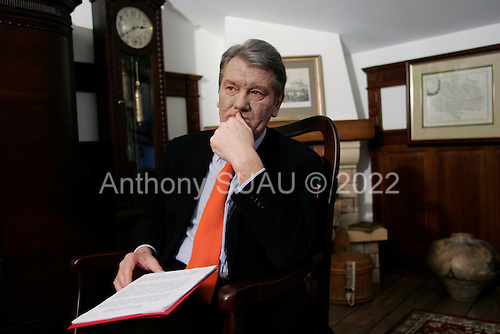KIEV, UKRAINE - December 29, 2004: Viktor Yuschinco in one off his Kiev offices. Although he is shown leading in the results of the third round of votes for President, his opponent is challenging the results.