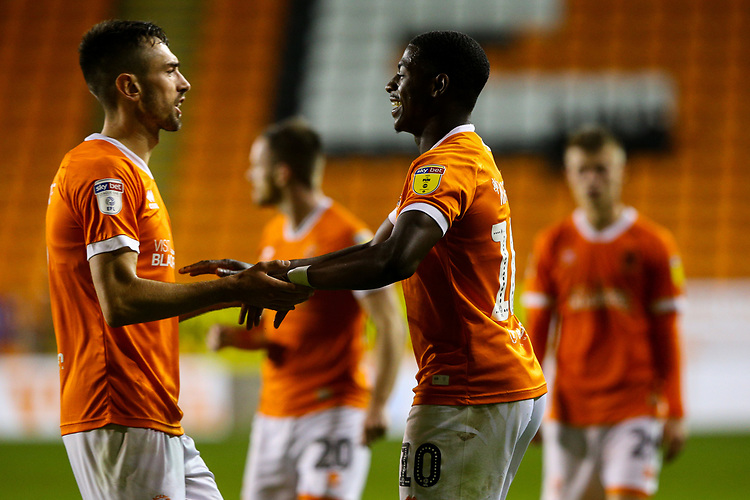 Blackpool's Sullay Kaikai celebrates scoring his side's fourth goal with Ryan Hardie<br /> <br /> Photographer Alex Dodd/CameraSport<br /> <br /> EFL Leasing.com Trophy - Northern Section - Group G - Blackpool v Morecambe - Tuesday 3rd September 2019 - Bloomfield Road - Blackpool<br />  <br /> World Copyright © 2018 CameraSport. All rights reserved. 43 Linden Ave. Countesthorpe. Leicester. England. LE8 5PG - Tel: +44 (0) 116 277 4147 - admin@camerasport.com - www.camerasport.com