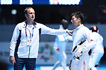 (L-R) <br />   Gorbachuk Oleksandr, <br /> Kazuyasu Minobe (JPN), <br /> AUGUST 19, 2018 - Fencing : <br /> Men's Individual Epee Round of 32 <br /> at Jakarta Convention Center Cendrawasih <br /> during the 2018 Jakarta Palembang Asian Games <br /> in Jakarta, Indonesia. <br /> (Photo by Naoki Nishimura/AFLO SPORT)
