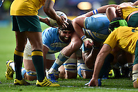 Juan Martin Fernandez Lobbe of Argentina looks on at a scrum. Rugby World Cup Semi Final between Argentina v Australia on October 25, 2015 at Twickenham Stadium in London, England. Photo by: Patrick Khachfe / Onside Images