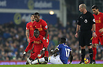 Idrissa Gueye of Everton is booked for a challenge on Sadio Mané of Liverpool during the English Premier League match at Goodison Park, Liverpool. Picture date: December 19th, 2016. Photo credit should read: Lynne Cameron/Sportimage