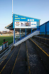 The Jamie Vardy Stand at the Look Local Stadium. Stocksbridge Park Steels v Pickering Town,  Evo-Stik East Division, 17th November 2018. Stocksbridge Park Steels were born from the works team of the local British Steel plant that dominates the town north of Sheffield.<br />