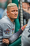 3 April 2017: Miami Marlins infielder Miguel Rojas watches play from the dugout during play against the Washington Nationals on Opening Day at Nationals Park in Washington, DC. The Nationals defeated the Marlins 4-2 to open the 2017 MLB Season. Mandatory Credit: Ed Wolfstein Photo *** RAW (NEF) Image File Available ***