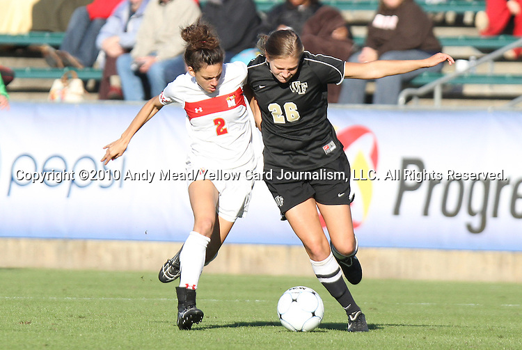 07 November 2010: Maryland's Domenica Hodak (2) and Wake Forest's Kristen Meier (26). The Wake Forest University Demon Deacons defeated the University of Maryland Terrapins 3-1 on penalty kicks after the game ended in a 1-1 tie after overtime at WakeMed Stadium in Cary, North Carolina in the ACC Women's Soccer Tournament championship game.
