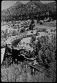 Leased D&amp;RGW #462 with northbound freight on RGS Lightner Creek Trestle (Bridge 160-A) west of Durango.<br /> RGS  Franklin Junction, CO  Taken by Jackson, Richard B. - 7/3/1946