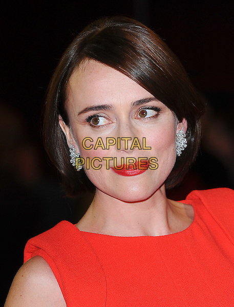 Keeley Hawes .'The Three Musketeers in 3D' world film premiere, Vue Cinema, Westfield Shopping Centre, London, England..October 4th 2011.headshot portrait red lipstick diamond earrings .CAP/BEL.©Tom Belcher/Capital Pictures.