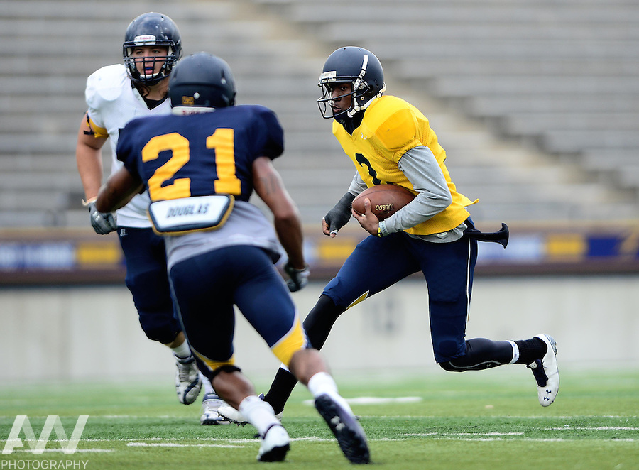 Aug 15, 2012; Toledo, OH, USA; Toledo Rockets quarterback Terrance Owens (2) during practice at the Glass Bowl. Mandatory Credit: Andrew Weber-US Presswire