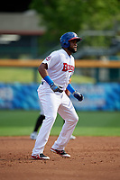 Buffalo Bisons Socrates Brito (51) leads off during an International League game against the Norfolk Tides on June 21, 2019 at Sahlen Field in Buffalo, New York.  Buffalo defeated Norfolk 2-1, the first game of a doubleheader.  (Mike Janes/Four Seam Images)