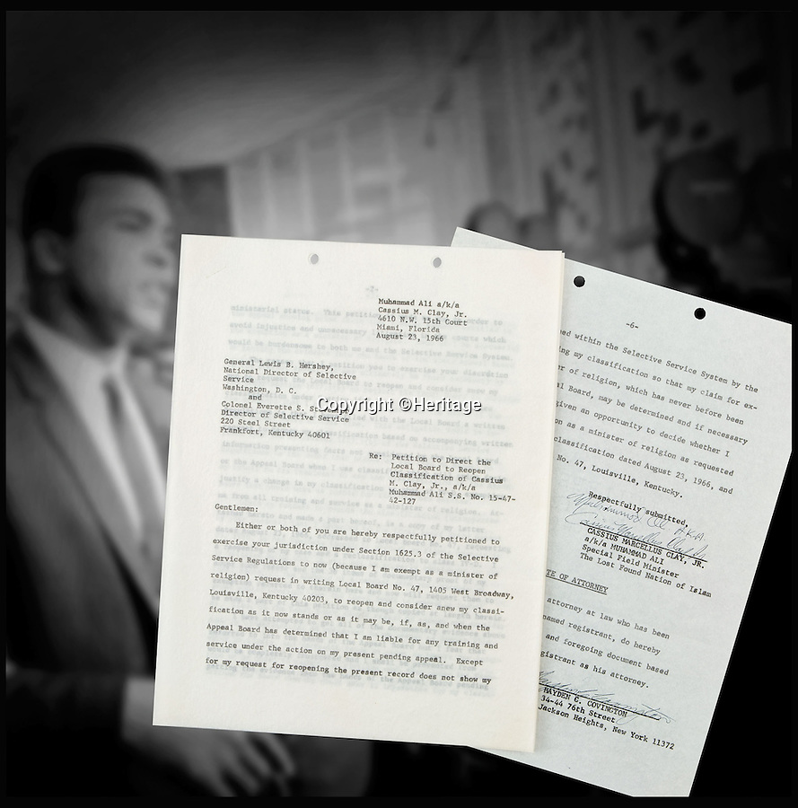 BNPS.co.uk (01202 558833)<br /> Pic: Heritage/BNPS<br /> <br /> ***Please Use Full Byline***<br /> <br /> The start and end page of Ali's letter.<br /> <br /> An incredibly rare letter written by boxing great Muhammad Ali demanding exemption from the Vietnam War draft has emerged for sale for £35,000.<br /> <br /> Ali was the reigning heavyweight champion of the world when in 1966 was called up to serve in the US army as they waged war against Vietnam.<br /> <br /> But the 24-year-old prize fighter, who had converted to Islam two years previously, repeatedly refused to enlist on the grounds that his religious beliefs forbade any killing.<br /> <br /> The signed six-page letter has been described as the most significant document relating to Ali in existence by experts.