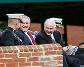 From left to right: out-going Chairman of the Joint Chiefs of Staff, United States Marine Corps General Peter Pace, US President George W. Bush, and US Secretary of Defense Robert Gates as they participate in an Armed Forces Change of Command ceremony and official Hail and Farewell tribute in honor of Pace and in-coming Chairman of the Joint Chiefs of Staff US Navy Admiral Michael Mullen at Fort Myer, Virginia on October 1, 2007.<br /> Credit: Aude Guerrucci / Pool via CNP