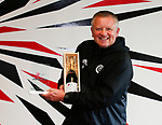 Chris Wilder manager of Sheffield Utd with the LG Performance of the Week award after beating Sheffield Wednesday. Pictured at the Shirecliffe Training centre, Sheffield. Picture date: September 29th 2017. Picture credit should read: Simon Bellis/Sportimage