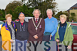 Norrie O'Neill, John O'Shea, Michael Gleeson Killarney Mayor, Pat and Brid Casey waiting for buses for the annual Old Kenmare walk in aid of MS in Gleneagle Car Park, Killarney on Sunday