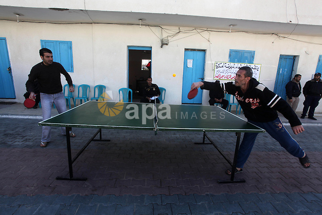 """Palestinian prisoners enjoy in a Hamas-run jail during """"entertainment Day"""" by Supervision of the Red Cross in Gaza City on Mar. 22, 2012. Photo by Ashraf Amra"""