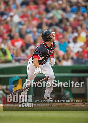 22 July 2016: Washington Nationals infielder Danny Espinosa in action against the San Diego Padres at Nationals Park in Washington, DC. The Padres defeated the Nationals 5-3 to take the first game of their 3-game, weekend series. Mandatory Credit: Ed Wolfstein Photo *** RAW (NEF) Image File Available ***